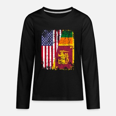 Sri Lankan SRI LANKAN ROOTS | American Flag | SRI LANKA - Kids' Premium Long Sleeve T-Shirt