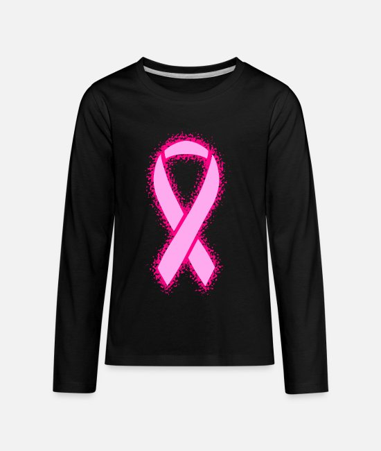 Cancer Ribbon Long-Sleeved Shirts - Breast Cancer Ribbon - Kids' Premium Longsleeve Shirt black