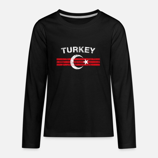 Turkey Long-Sleeve Shirts - Turk Flag Shirt - Turk Emblem & Turkey Flag Shirt - Kids' Premium Longsleeve Shirt black