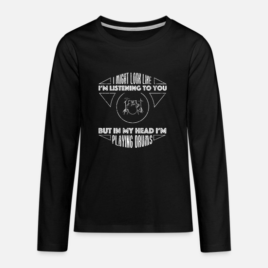 Drums Long-Sleeve Shirts - In My Head Im Playing Drums Shirt - Kids' Premium Longsleeve Shirt black