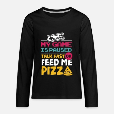 Gaming Video Games Gamer Gaming Game Paused Pizza Pizzas - Kids' Premium Longsleeve Shirt