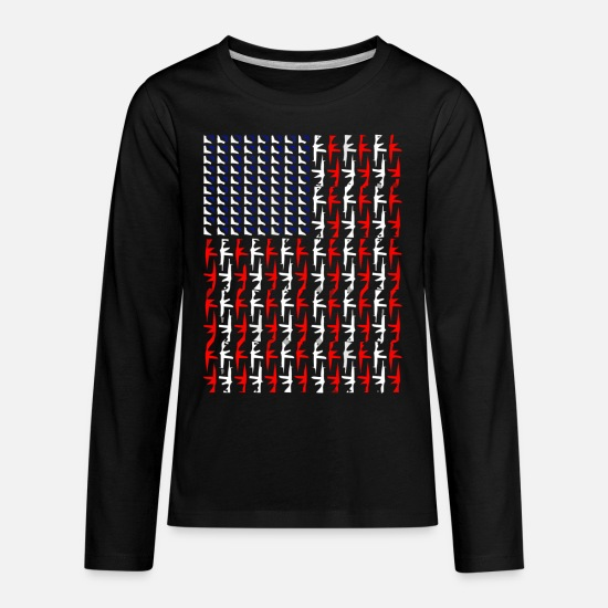 Handgun T-Shirts - ASSAULT RIFLE AR15 AR 15 GUN HANDGUN AMERICAN FLAG - Kids' Premium Longsleeve Shirt black