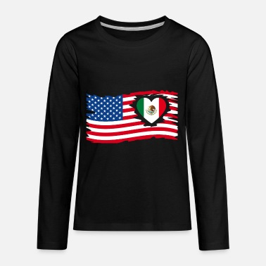 USA Flag with mexican Heart Mexico / US - Kids' Premium Longsleeve Shirt