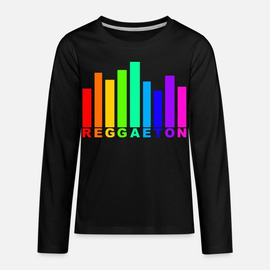 Reggaeton T-Shirts - Reggaeton Rainbow audio wave - Kids' Premium Longsleeve Shirt black