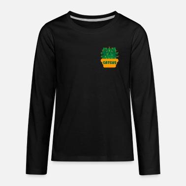 07eeae78 Cactus Puns Are Succulent Pocket Cat Catcus I Funny Cactus print I Cat Pun  - Kids&. Kids' Premium Longsleeve Shirt