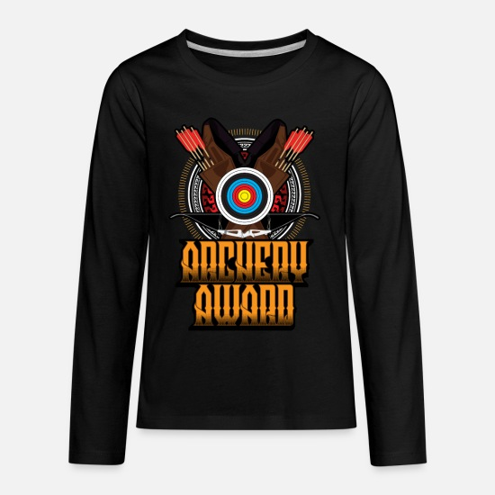 Gift Idea T-Shirts - Archery Award Hunting Bullseye Bow and Arrows - Kids' Premium Longsleeve Shirt black