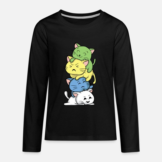 Manga Long-Sleeve Shirts - Kawaii Cat Manga Style Japan Miao Gift - Kids' Premium Longsleeve Shirt black