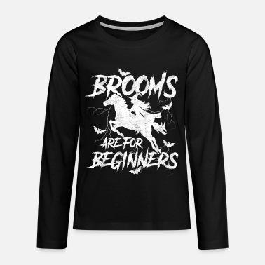 430eb81b Halloween Witch Rider on Horse Kids' Premium Long Sleeve T-Shirt - black