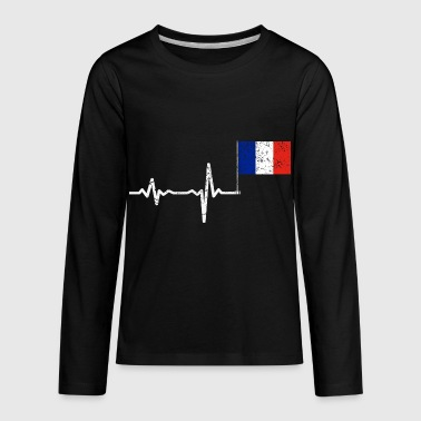 Heartbeat France french flag gift - Kids' Premium Long Sleeve T-Shirt