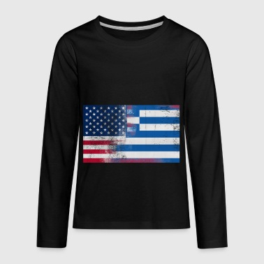 Greek American Half Greece Half America Flag - Kids' Premium Long Sleeve T-Shirt