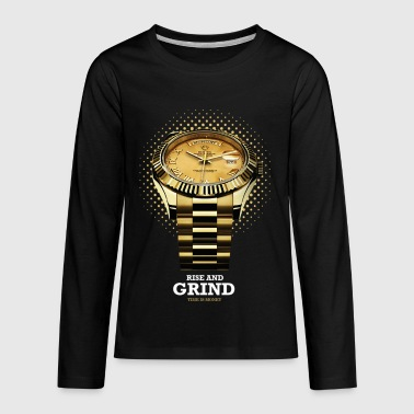 RISE AND GRIND TIME IS MONEY - Kids' Premium Long Sleeve T-Shirt