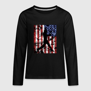 Baseball Pitcher American Flag Tee Shirt - Kids' Premium Long Sleeve T-Shirt