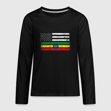 Ethiopian American Flag - USA Ethiopia Shirt - Kids' Premium Long Sleeve T-Shirt
