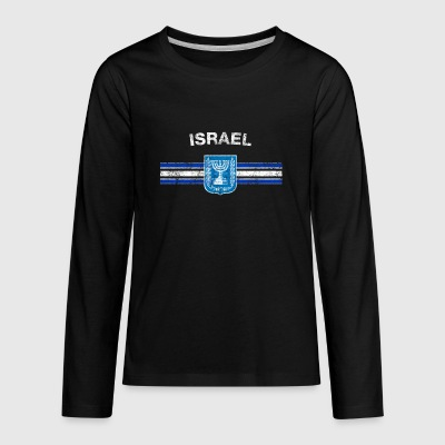 Israeli Flag Shirt - Israeli Emblem & Israel Flag - Kids' Premium Long Sleeve T-Shirt