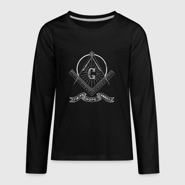 Masonic Lodge Shirt Faith Hope Charity Freemason Shirt - Kids' Premium Long Sleeve T-Shirt