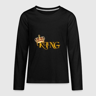 GOLD KING CROWN WITH YELLOW LETTERING - Kids' Premium Long Sleeve T-Shirt