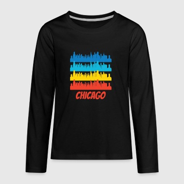 Retro Chicago IL Skyline Pop Art - Kids' Premium Long Sleeve T-Shirt