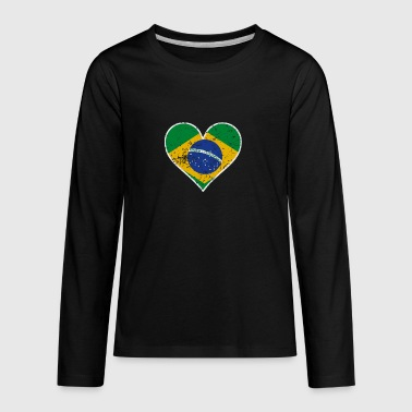 Distressed Brazilian Flag Heart - Kids' Premium Long Sleeve T-Shirt