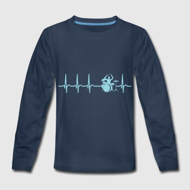 Drum Heartbeat Drums Drummer Funny Quote Shirt Gift Tee - Kids' Premium Long Sleeve T-Shirt