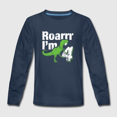 4 Year Old Birthday Dinosaur Gift - Kids' Premium Long Sleeve T-Shirt