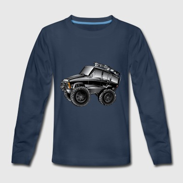 XJ Jeep Cartoon Black - Kids' Premium Long Sleeve T-Shirt