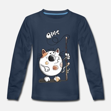 Fishbone Kids Angler Cat - Fishm- Fishing - Cats - Gift - Comic - Kids' Premium Long Sleeve T-Shirt