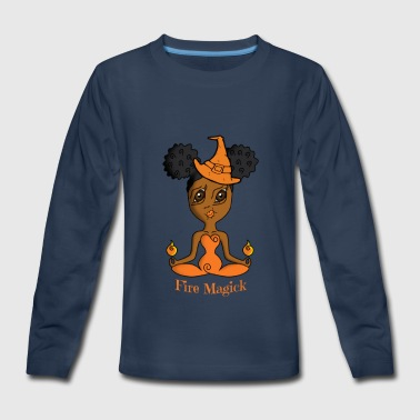 African American Fire Witch - Kids' Premium Long Sleeve T-Shirt