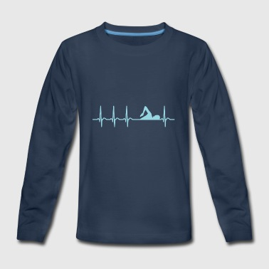 Heartbeat Swimming Club Team Athlete Cool Fun Gift - Kids' Premium Long Sleeve T-Shirt