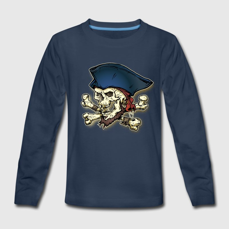Pirate Skull Cross & Bone - Kids' Premium Long Sleeve T-Shirt