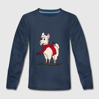 Alpaca with scarf - Kids' Premium Long Sleeve T-Shirt