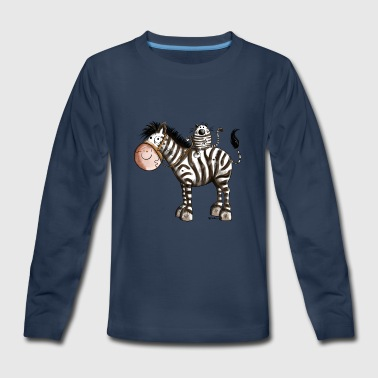Funny cat rides a zebra - Cats - Zebras - Gift  - Kids' Premium Long Sleeve T-Shirt