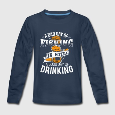 Fishing Drinking Fisherman Fish Angler Beer - Kids' Premium Long Sleeve T-Shirt