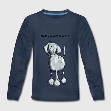 Blue Weimaraner - Dog - Cartoon - Gift - Kids' Premium Long Sleeve T-Shirt