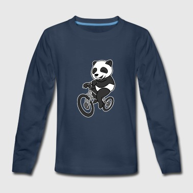 Panda Panda Riding Bicycle T-Shirt Funny Sichuan Bear - Kids' Premium Long Sleeve T-Shirt