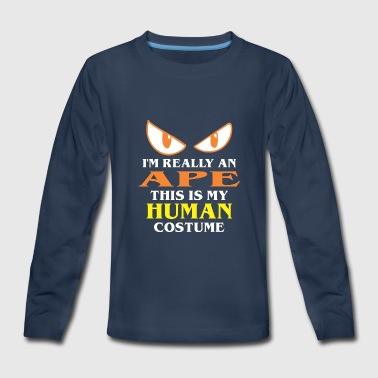 Apelike Halloween Really Ape This Is My Human Costume - Kids' Premium Long Sleeve T-Shirt