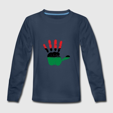 Pan African Flag Hand Print Sign Afro- American - Kids' Premium Long Sleeve T-Shirt