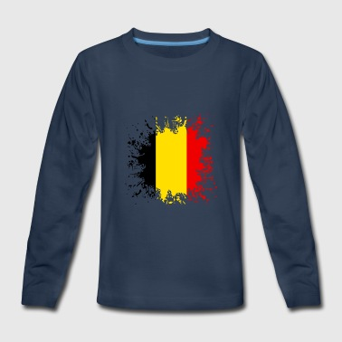 I-love-belgique Belgium Flag Splash - Kids' Premium Long Sleeve T-Shirt