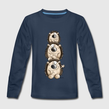 Three Hedgehogs Friends - Cartoon - Gift - Fun - Kids' Premium Long Sleeve T-Shirt