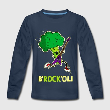 Broccoli playing electric guitar. - Kids' Premium Long Sleeve T-Shirt
