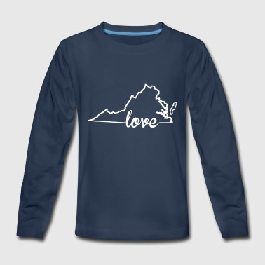 State Virginia Love State Outline - Kids' Premium Long Sleeve T-Shirt