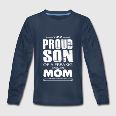Proud Son Awesome Mom Shirt - Kids' Premium Long Sleeve T-Shirt