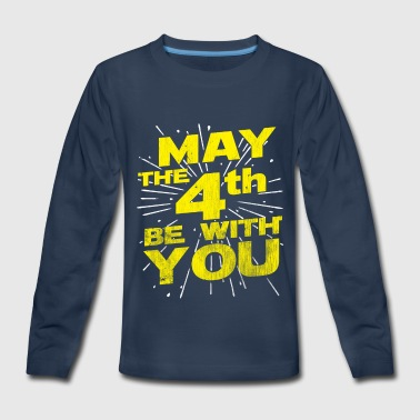 May The 4th Be With You Distressed - Kids' Premium Long Sleeve T-Shirt