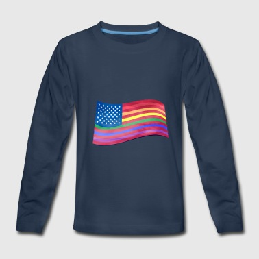 Lesbian Happy Easter Gay Pride American Flag Rainbow Lines T-Shirt LGBT - Kids' Premium Long Sleeve T-Shirt