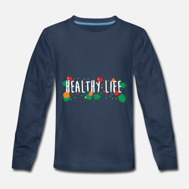 Healthy life t-shirt with fruits and plants leafs - Kids' Premium Longsleeve Shirt