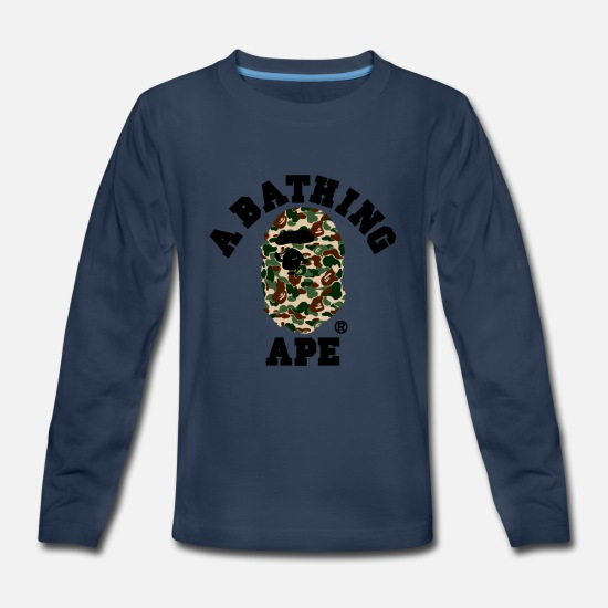 Ape Long-Sleeve Shirts - BAPE A BATHING APE - Kids' Premium Longsleeve Shirt navy