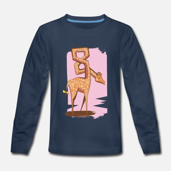 Birthday T-Shirts - Giraffe 8th Birthday | Eight years old Kids Design - Kids' Premium Longsleeve Shirt navy