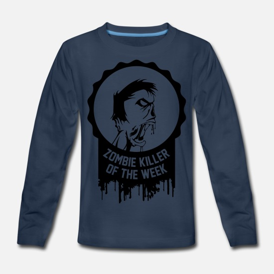 Zombie Apocalypse T-Shirts - Zombie killer of the week award - Kids' Premium Longsleeve Shirt navy
