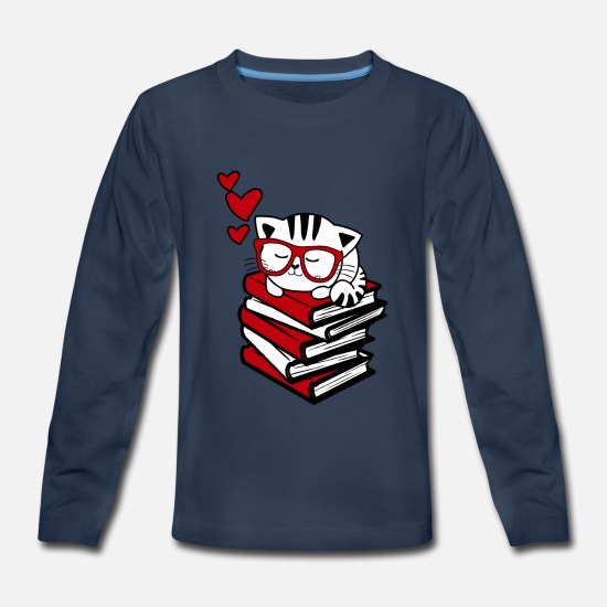 Bookworm T-Shirts - Reading Gift Funny Cat Book Reader Geek Glasses Bo - Kids' Premium Longsleeve Shirt navy