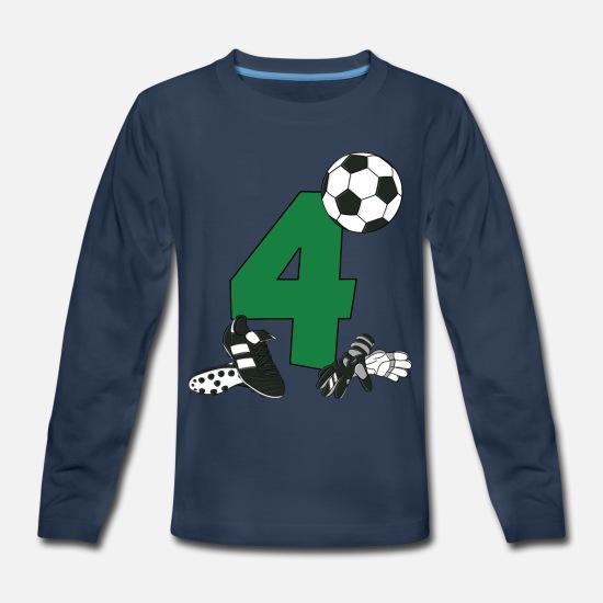 320d8fc8cb5 4th Birthday T-Shirt Boys Soccer, Football Kids' Premium Longsleeve ...