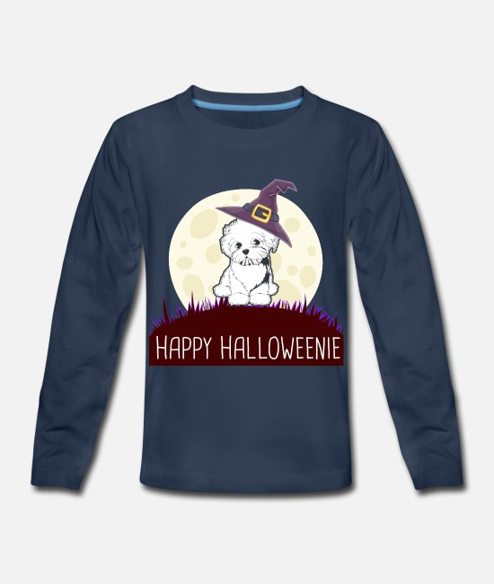 BICHON FRISE Long-Sleeved Shirts - BICHON FRISE Happy Halloweenie gift i - Kids' Premium Longsleeve Shirt navy